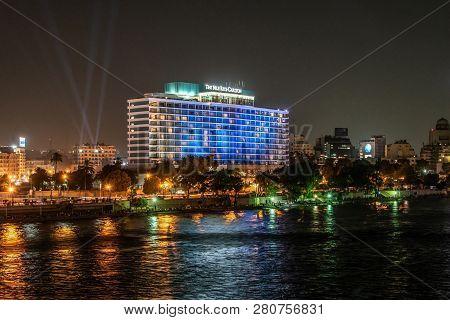 Cairo, Egypt - 25.05.2018 - Cairo Skyline Showing The Nile Ritz Carlton Hotel Illuminated At Night