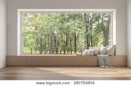 Side Window Seat 3d Render.there Are White Room,wood Seat,decorate With Many Pillow.there Are Big  W