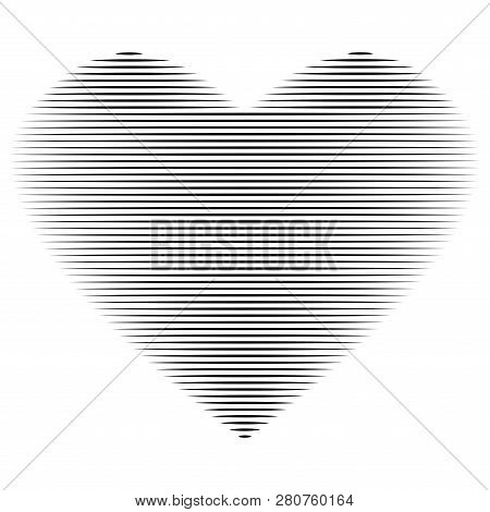 Heart Of Lines Sign. Beautiful Black Icon Isolated On White Background. Lovely Symbol. Logo For Roma