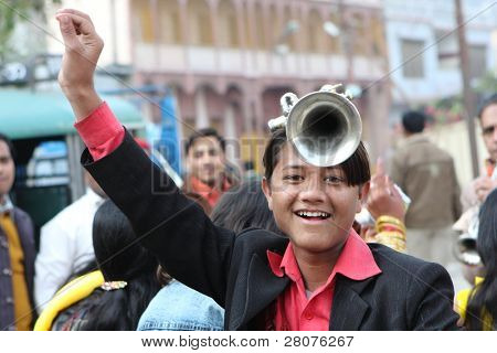 HARIDWAR, INDIA - JANUARY 14: Street musicians in a traditional Indian wedding, January 14, 2009 in Haridwar, India.