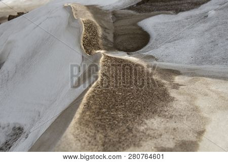 Dirty Snow. Environmental Pollution. Ecological Disaster. Urban Ecology.