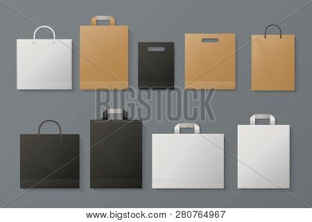 Shopping Bag Mockup. Realistic White Paper Package Craft Black Brand Merchandise Shop Gray Paper. Fa