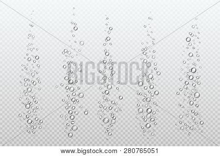 Realistic Fizzing Bubbles. Underwater Carbonate Sparkles Under Water Fizz Gas Isolated Aquarium Air.