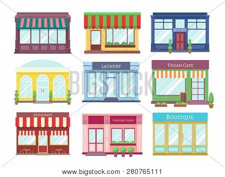 Store Flat Buildings. Cartoon Shop Facade With Showcase Boutique Retail Building Storefront Restaura