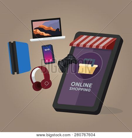 Online Shopping Store, Electronic And Game Device Order. On Mobile Screen, Buying Process, Online Sh