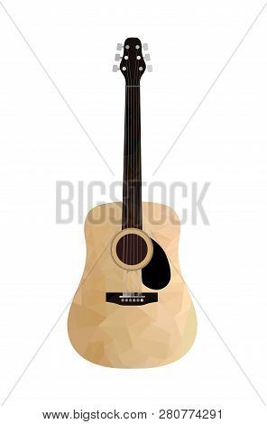 Low Poly Acoustic Guitar On A White Background. Isolated