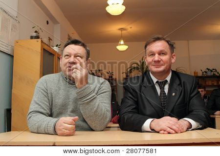 PODPOROZHYE, RUSSIA - FEBRUARY 2: Valery Serdyukov(L) governor of the Leningrad region, during a planned trip to Podporozhye and Petr Levin -Mayor Podporozhye, February 2, 2010 in Podporozhye, Russia.