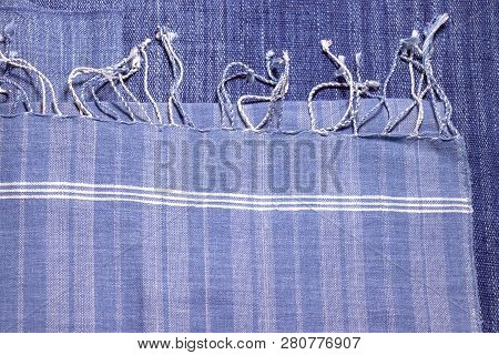 Detail Of Texture Of Traditional Indigo White And Blue Natural Dyed Clothes