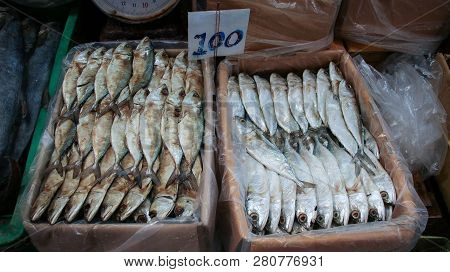 Dried Indian Mackerel Fish In The Dried Seafood Market, Bangkok, Thailand