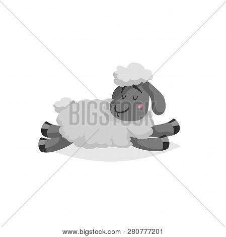 Cartoon Sheep Sleeping Or Relaxing. White Wool And Black Skin Cute Farm Animal Lie. Vector Trendy De