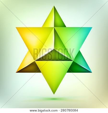 3d Polyhedron Merkaba, Esoteric Bronze Crystal, Sacral Geometry Shape, Volume David Star, Mesh Form,