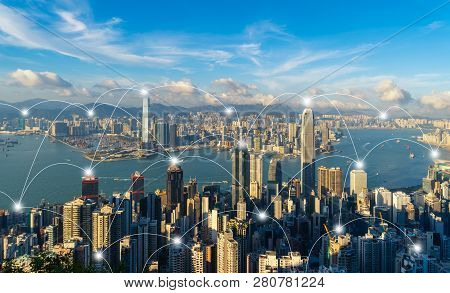 Digital Network Connection Lines Of Hong Kong Downtown. Financial District And Business Centers In S
