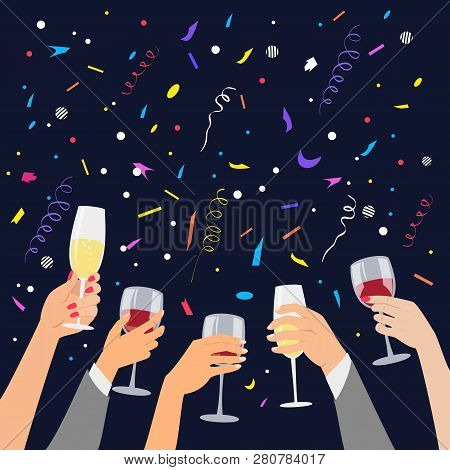 Hands Holding A Glasses With Red Wine And Champagne. Vector Illustration.