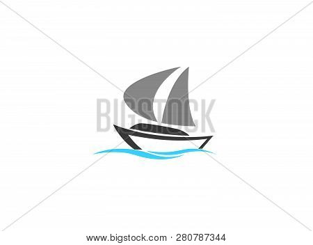 Sails Boat In The Sea, Yacht Sailing Logo Design