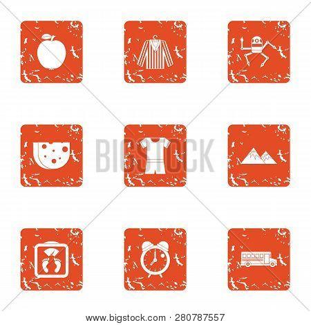 Matter Icons Set. Grunge Set Of 9 Matter Icons For Web Isolated On White Background