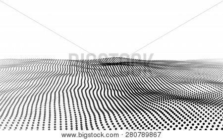 Wave Of Particles. Wave 3D. Big Data. Vector Illustration.