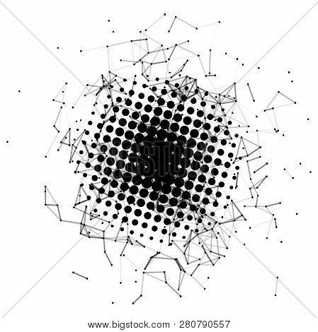 Halftone. Black Circle. Futuristic Technology Style. Background Vector. Plexus Effect. Vector Illust
