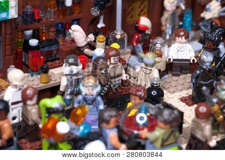 RUSSIAN, SAMARA - JANUARY 24, 2019. LEGO STAR WARS. Minifigures Bar Cantina Mos Eisley on Tatooine