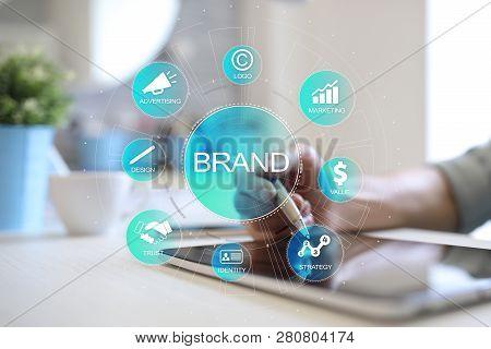 Brand Diagram Concept On Virtual Screen. Awareness Increase, Design, Marketing And Advertising Solut