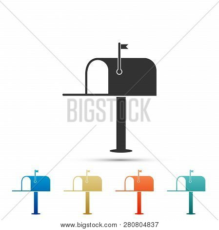 Open mail box icon isolated on white background. Mailbox icon. Mail postbox on pole with flag. Set elements in colored icons. Flat design. Vector Illustration poster