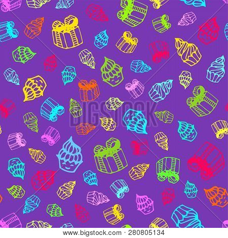 Birthday Seamless Pattern In Hand-drawn Doodle Style. Vector Colorful Illustration Of Cakes, Birthda