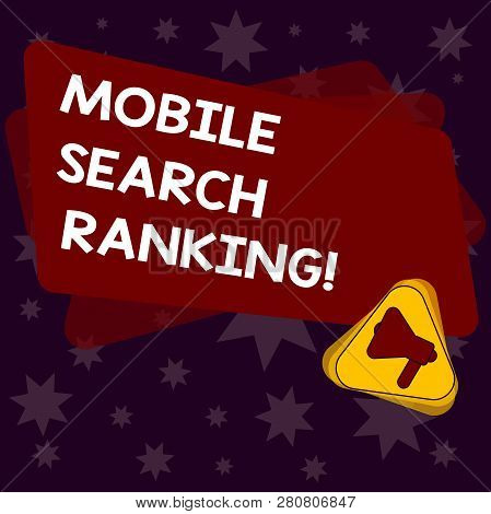 Handwriting Text Writing Mobile Search Ranking. Concept Meaning Website Or Page Is Ranked Within Sea