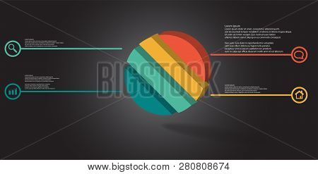 3D Illustration Infographic Template With Embossed Ring Divided To Four Parts