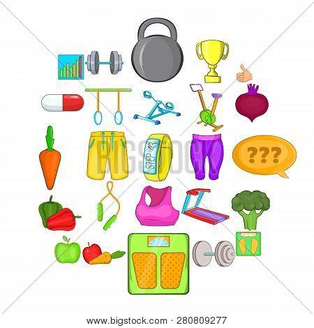 Physical Examination Icons Set. Cartoon Set Of 25 Physical Examination Icons For Web Isolated On Whi