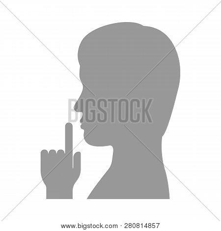 Finger On Lips. Shhh Gesture. Vector Illustration.
