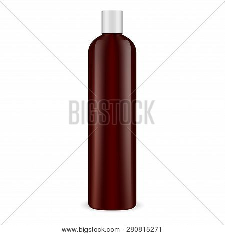 Brown Cosmetic Bottle. Shampoo Container Mockup. Female Beauty Product 3d Package. Profeccional Body