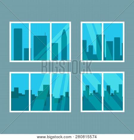 Set Of Windows Overlooking The Skyscrapers. Vector Illustration.
