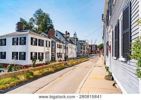 Historic Homes Along Leyden Street In  Plymouth, Massachusetts
