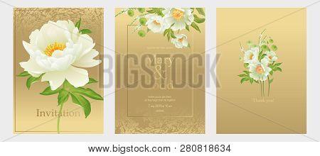 Invitation Wedding Card Set. Decoration Peonies Flowers On Golden Background Vintage. Vector Bridal