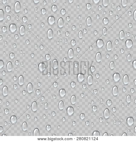 Water Drops Seamless Pattern. Rain Droplets On Window Fogged Glass. Fresh Drop Raindrops. Condensati