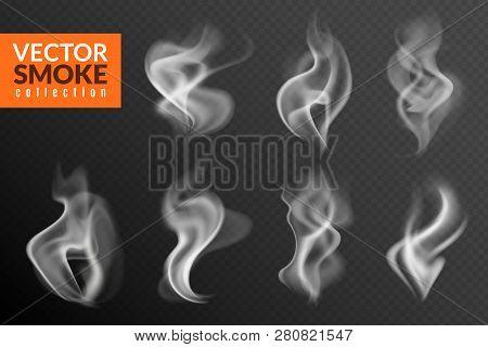 Smoke Isolated. White Smoking Clouds Hot Food Steam Hookah Tea Coffee Smoke Steaming Texture On Blac