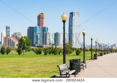 Skyline Of Jersey City, New Jersey Along Path In Liberty State Park