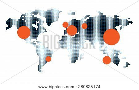 Infographic. Dotted World Map. Vector Map Of The World With Elements Of Infographics. Modern World M