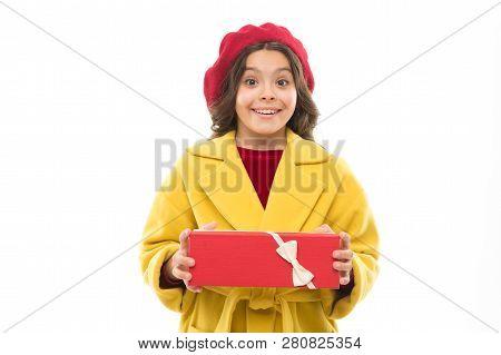 Birthday Wish List. Visit Fashion Store To Choose Gift. Girl Happy Kid Hold Birthday Gift Box. Birth