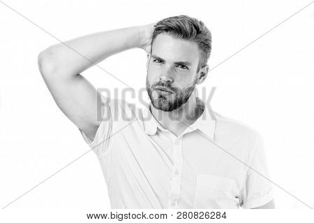 Life Without Dandruff. Healthy Hair. Guy Attractive Enjoy Hairstyle. Man Bearded Strict Face Enjoy F