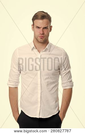 Young And Confident. Man Well Groomed Unbuttoned White Collar Elegant Shirt Isolated White Backgroun