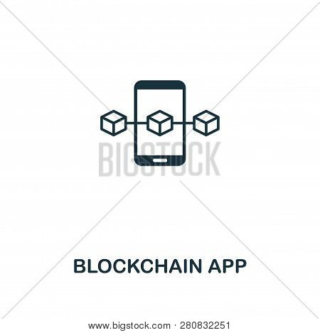 Blockchain App Outline Icon. Thin Line Style Design From Blockchain Icons Collection. Creative Block