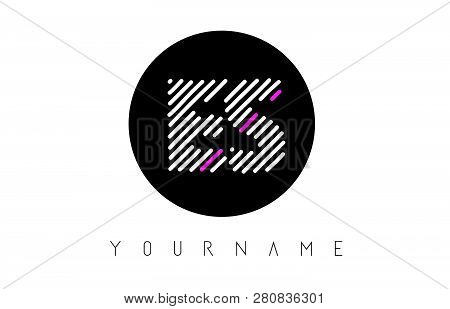 Es Letter Logo Design With White Lines And Black Circle Vector Illustration