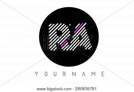 Ra Letter Logo Design With White Lines And Black Circle Vector Illustration