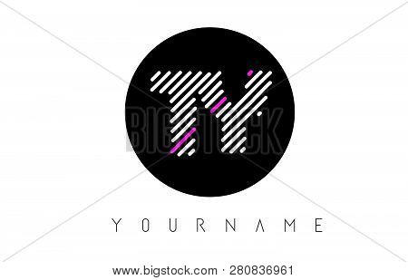 Ty Letter Logo Design With White Lines And Black Circle Vector Illustration