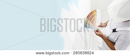 Painter Man With Color Swatches In Your Hand, Choice Of Colors Concept, On Big Blank Wall For Copy S