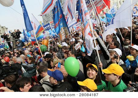 MOSCOW - MAY 1: United Russia party and government-linked trade unions take to the streets to mark May Day, May 1, 2010 in Moscow, Russia.