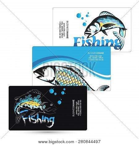 Fish Silhouette And Water. Business Card For Fishing Set
