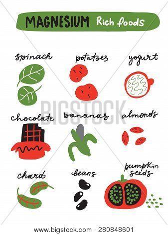 Magnesium Foods. Vector Illustration Of Different Foods Full Of Magnesium.