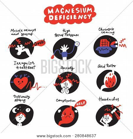 Funny Hand Drawn Icons About Magnesium Deficiency Symptoms. Vector.