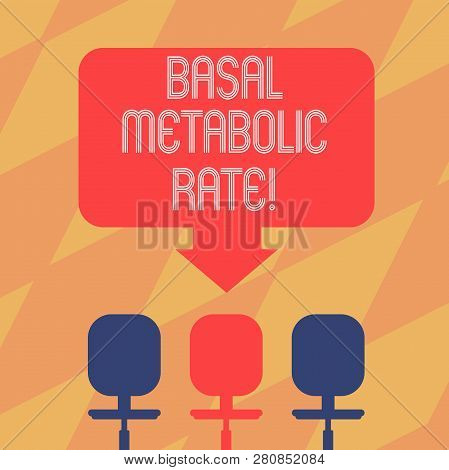 Text sign showing Basal Metabolic Rate. Conceptual photo Minimum energy level require to sustain vital function Blank Space Color Arrow Pointing to One of the Three Swivel Chairs photo. poster